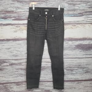 Express High Rise Cropped Skinny Black Jeans